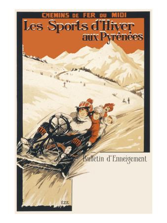 Winter Sports in the Pyrenees Poster