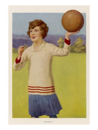 Women's Football : the Referee with Her Whistle About to Start the Game