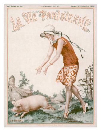 Woman Chasing Pig 1926
