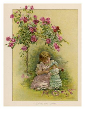 Under a Rose Bush in the Garden, a Little Girl Adjusts Her Doll's Clothing