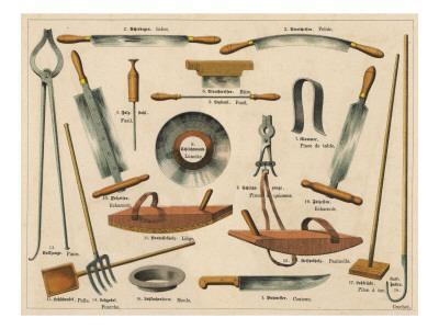 Various Tools Used in Tannery and Leather Making, Including a Knife, Pincers and a Hook