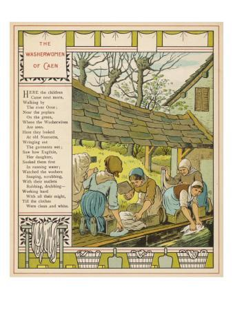 Washerwives' of Caen, Normandie (France) Washing their Clothes at the Communal Lavoir