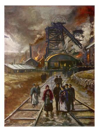 Welsh Men and Women Mineworkers Coming to Work in the Early Morning