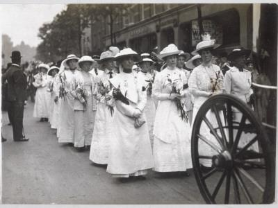 Funeral of Emily Davison; Procession at Victoria Station