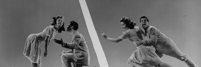 Composite: Kaye Popp and Stanley Catron Demonstrating Steps of the Lindy Hop