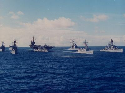 US Battle Group America Led by Aircraft Carrier in Red Sea, Deploying in Desert Shield Gulf Crisis