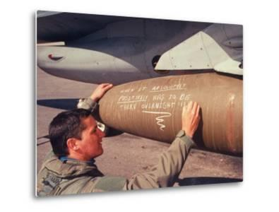 US Operation Desert Storm F-16 Fighter Crewman Adding 5th Exclamation Point to Chalk-Drawn Message