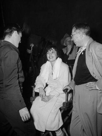 "Richard Todd and King Vidor Joking with Ruth Roman on the Set of Film ""Lightning Strikes Twice"""