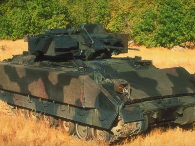 M2 A2 Bradley Fighting Vehicle with Reactive Armor Installed in US Army Base Test Range Setting