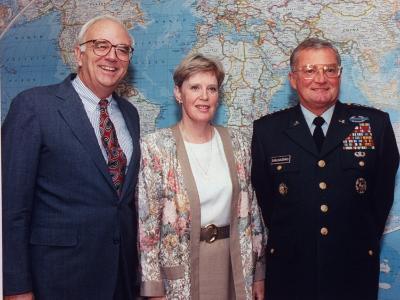 General John M. Shalikashvili, US Army, with Wife Joan and Defense Secretary Les Aspin