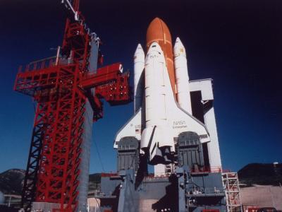 Space Shuttle Enterprise Sitting on Launch Pad at Vandenberg Space Shuttle Complex