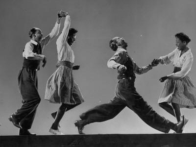 Composite: Leon James and Willa Mae Ricker Demonstrating Steps of the Lindy Hop