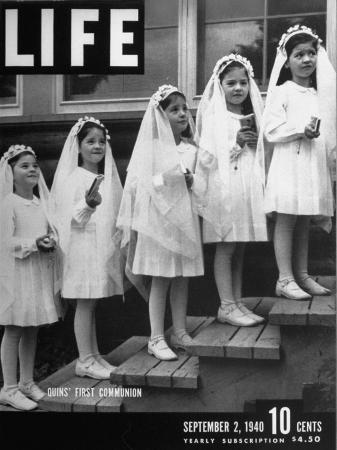 A View of the Dionne Quintuplets Making their First Holy Communion
