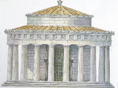 Greece, Delphi, Reconstruction of Tholos of Marmaria, Illustration