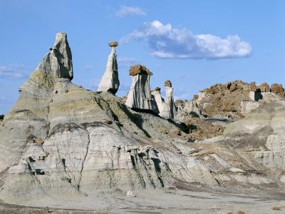 Desert Landscape with Capped Sandstone Towers, Bisti Badlands Wilderness Area, New Mexico, Usa