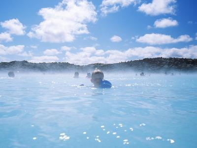 Group of People Swimming in a Lagoon, Blue Lagoon, Reykjanes, Iceland