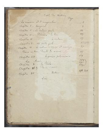Album Noa Noa: Handwritten Notes, Table of Contents