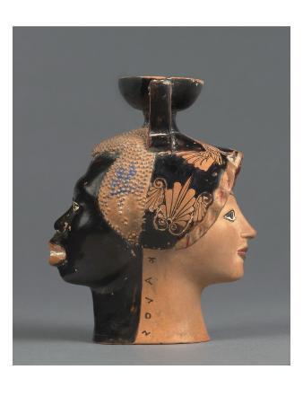 Aryballos Shaped Plastic Female Head and Black Head