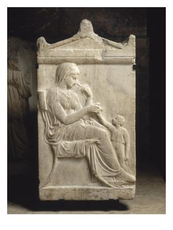 Attic Funerary Stele with Pediment: Woman and Girl