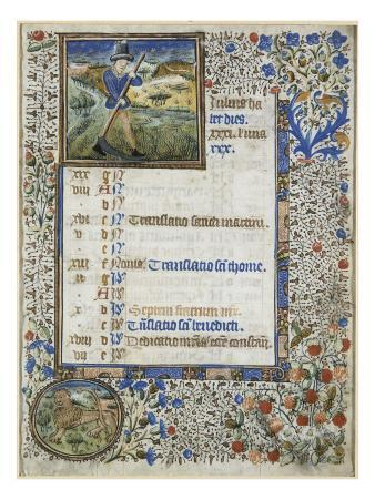 Calendar of a Book of Hours for the Use of Coutances