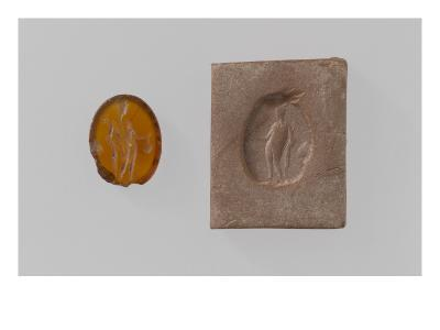 Intaglio Elliptical Naked Mercury Holding a Caduceus