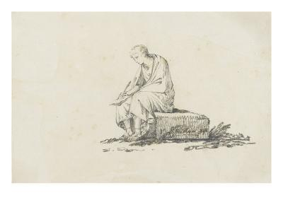 Man Dressed in Ancient Writing, Sitting on a Stone