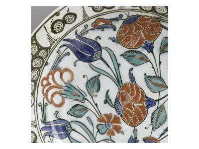 Plate with Flowering Stems and Foliage Green and Blue