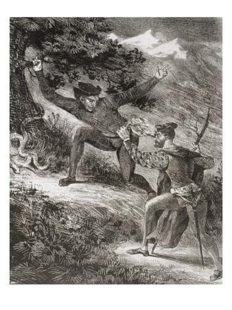 """""""Faust"""" de Goethe: Faust et Méphisto dans les montagnes du Harz: """"Nous sommes encore loin...""""; 1828"""