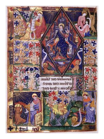 Manuscript of the Rohan-Montauban Hours: Christ in Majesty Surrounded by the Four Evangelists