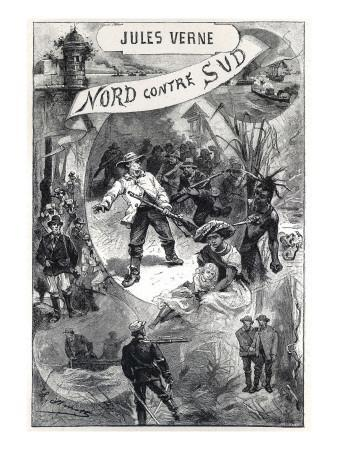 """Jules Verne, Frontispiece of """"North Against South"""""""