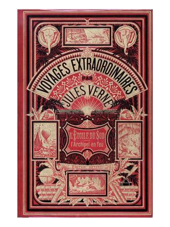 "Jules Verne, Cover of ""Southern Star Mystery"" and ""Propeller Island"""