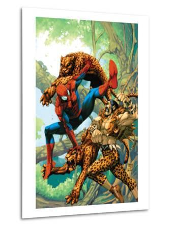 Marvel Age Spider-Man No.14 Cover: Spider-Man and Kraven the Hunter Fighting and Flying