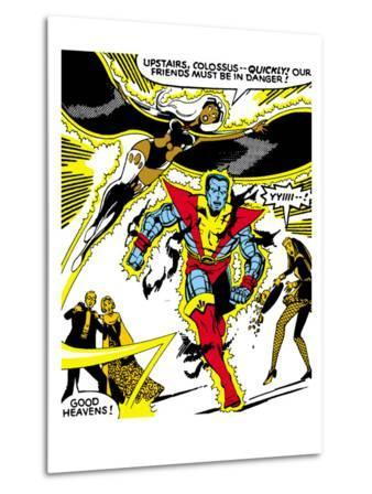 Marvel Comics Retro: X-Men Comic Panel, Colossus, Storm, Charging and Flying