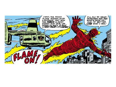Marvel Comics Retro: Fantastic Four Comic Panel, Human Torch