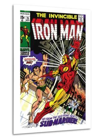 Marvel Comics Retro: The Invincible Iron Man Comic Book Cover No.25, Fighting Namor, Sub-Mariner