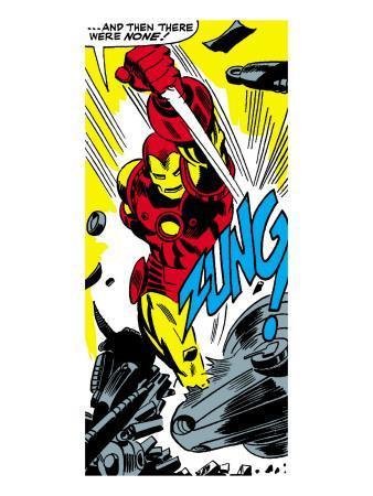 Marvel Comics Retro: The Invincible Iron Man Comic Panel, Fighting, Charging and Smashing - Zung!