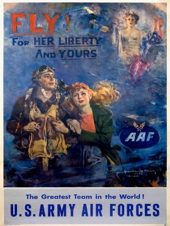 WWII Army Air Corps Recruiting Poster Fly