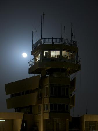 Cob Speicher Control Tower under a Full Moon