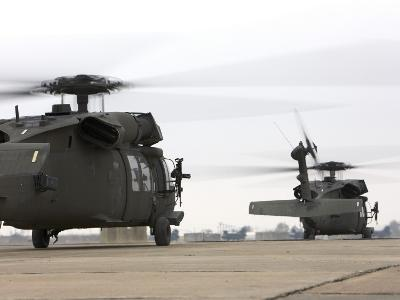 Two UH-60 Black Hawks Taxi Out for a Mission over Northern Iraq