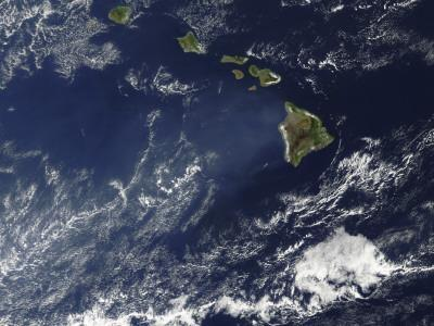 Satellite View of Volcanic Fog from Kilauea Volcano Swirling around the Hawaiian Islands
