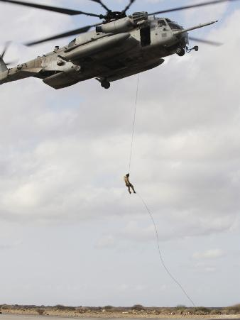An Air Force Pararescueman Conducts a Combat Insertion and Extraction Exercise in Djibouti, Africa