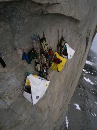 Wall Camp at an Elevation of 4000 Feet on the Face of Great Sail Peak