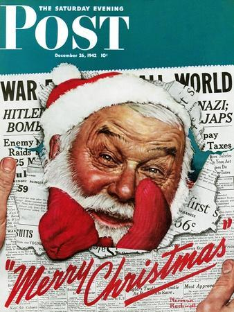 """Santa's in the News"" Saturday Evening Post Cover, December 26,1942"