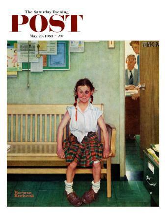 """Shiner"" or ""Outside the Principal's Office"" Saturday Evening Post Cover, May 23,1953"