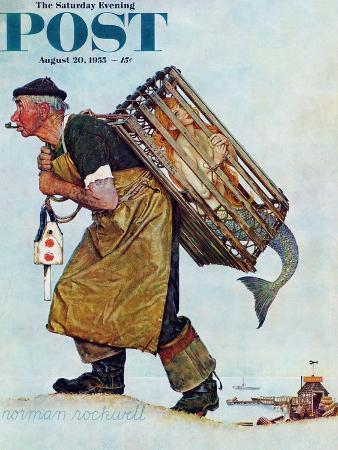 """Mermaid"" or ""Lobsterman"" Saturday Evening Post Cover, August 20,1955"