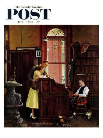 """""""Marriage License"""" Saturday Evening Post Cover, June 11,1955"""