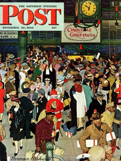 union train station chicago christmas saturday evening post cover december 231944 - Chicago Christmas Station