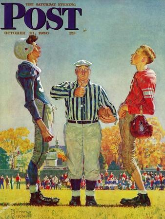"""""""Coin Toss"""" Saturday Evening Post Cover, October 21,1950"""