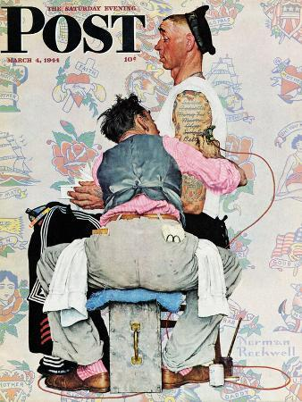 """""""Tattoo Artist"""" Saturday Evening Post Cover, March 4,1944"""