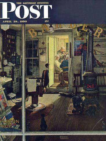 "Vtg Art Print Norman Rockwell Poster 12/"" x 15/"" Shuffleton/'s Barbershop"